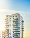 High rise apartments modern building with each having its own balcony blue sky background malmo sweden Royalty Free Stock Photography
