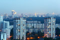 High-rise buildings at evening in Moscow Stock Image