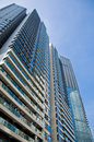 High rise condominiums multi storied buildings represents for home or rental downtown living Royalty Free Stock Photos