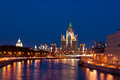 The high rise of moscow river buildings and bridges in evening lights Royalty Free Stock Images