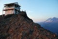 High rock wildfire lookout fire washington state gifford pinchot national forest with mount rainier Royalty Free Stock Photography