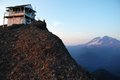 High rock wildfire lookout packwood washington — september — mount rainier looms in the background of a face containing the Stock Photos