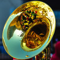 High school band tuba player out of focus Stock Images