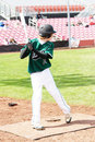 A High school baseball player at bat. Royalty Free Stock Photos