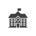 High school building icon vector