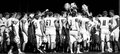 High school football team huddle banner a wisconsin in grey scale Royalty Free Stock Photography