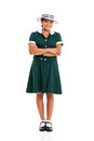 High school girl beautiful in uniform full length portrait Royalty Free Stock Photos