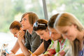 High-school student thinking at exam class teens Royalty Free Stock Photo