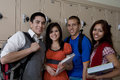 High School Students Standing Beside School Lockers Royalty Free Stock Photo