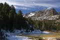 The high sierra a frozen lake in nevada with snow capped mountains Stock Photos