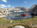High Sierra Lake Hiker Stock Photo