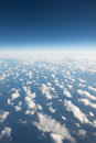 High sky view form airplane immense with clouds above tasman sea between australia and new zealand Royalty Free Stock Images