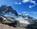 High snow and rocky mountain Cerro Castillo in Chile Patagonia Royalty Free Stock Photo