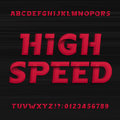 High speed alphabet font. Oblique dynamic letters numbers and symbols.