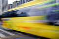 High speed and blurred bus trails Royalty Free Stock Photos