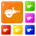 High speed cut off machine icons set vector color