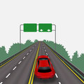 High-speed highway in perspective. Red car. Isolated on white background. Information signs. Abstract landscape Royalty Free Stock Photo