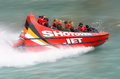 High speed jet boat ride queenstown nz jan tourists enjoy a on the shotover river on jan in new zealand is Royalty Free Stock Images