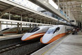High speed rail station in taiwan orange and white or bullet trains at a Royalty Free Stock Image