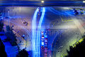 High speed traffic and blurred light trails Royalty Free Stock Photo