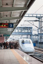 High speed train in chinse spring festival holiday nannin china january passengers wait to ride a at platform the travel rush Royalty Free Stock Images