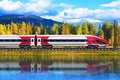 High speed train creative abstract railroad travel and railway tourism transportation industrial concept scenic summer view of Royalty Free Stock Image