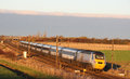 High speed train on east coast mainline near york class in livery heads south from the main line ecml just south of colton Stock Photography