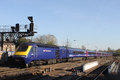 High speed train leaving oxford railway station hst in first great western livery with a service to london power car number is at Stock Image