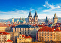 High spires towers of Tyn church in Prague city Royalty Free Stock Photo