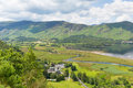 High Spy and maiden Moor mountains and Derwent Water Lake District south of Keswick elevated view