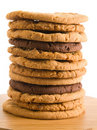 High stack of different types of cookies Royalty Free Stock Photos