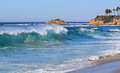 High surf at Aliso Beach in South Laguna Beach, California. Royalty Free Stock Photo