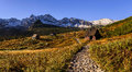 High tatra mountains panorama of the caterpillar valley in the polish Royalty Free Stock Image
