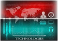 High tech. Business statistics on a red and turquoise background