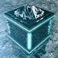 Abstract High Tech Cube With Mountain Background Royalty Free Stock Photo