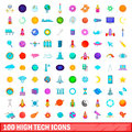 100 high tech icons set, cartoon style Royalty Free Stock Photo