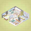 High Tech Modern Apartment Interior Design with Living Room, Bedroom and Kitchen. Isometric flat illustration