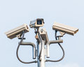 High tech security cameras monitoring Stock Images