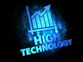 High technology on dark digital background blue color text Stock Images