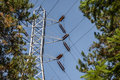 High-tension power lines and tower Royalty Free Stock Photo