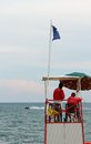High tower with lifeguards for beach during the choppy sea in summer Royalty Free Stock Photography