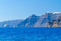High volcanic cliff of santorini island in greece Royalty Free Stock Image