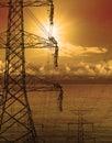 High volt electric pole dusky time Royalty Free Stock Photo