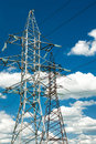 High voltage electric line at cloudy sky Royalty Free Stock Photos