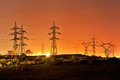 High voltage electric pillars Royalty Free Stock Photo
