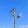 High voltage electricity pillars Royalty Free Stock Photo