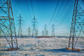 High-voltage electricity power pylons Royalty Free Stock Photo