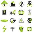 High voltage icons set