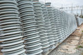 High voltage insulators at new substation Stock Image