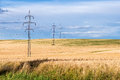 High voltage line with electricity pylons surrounded by cultivated fields Royalty Free Stock Photo